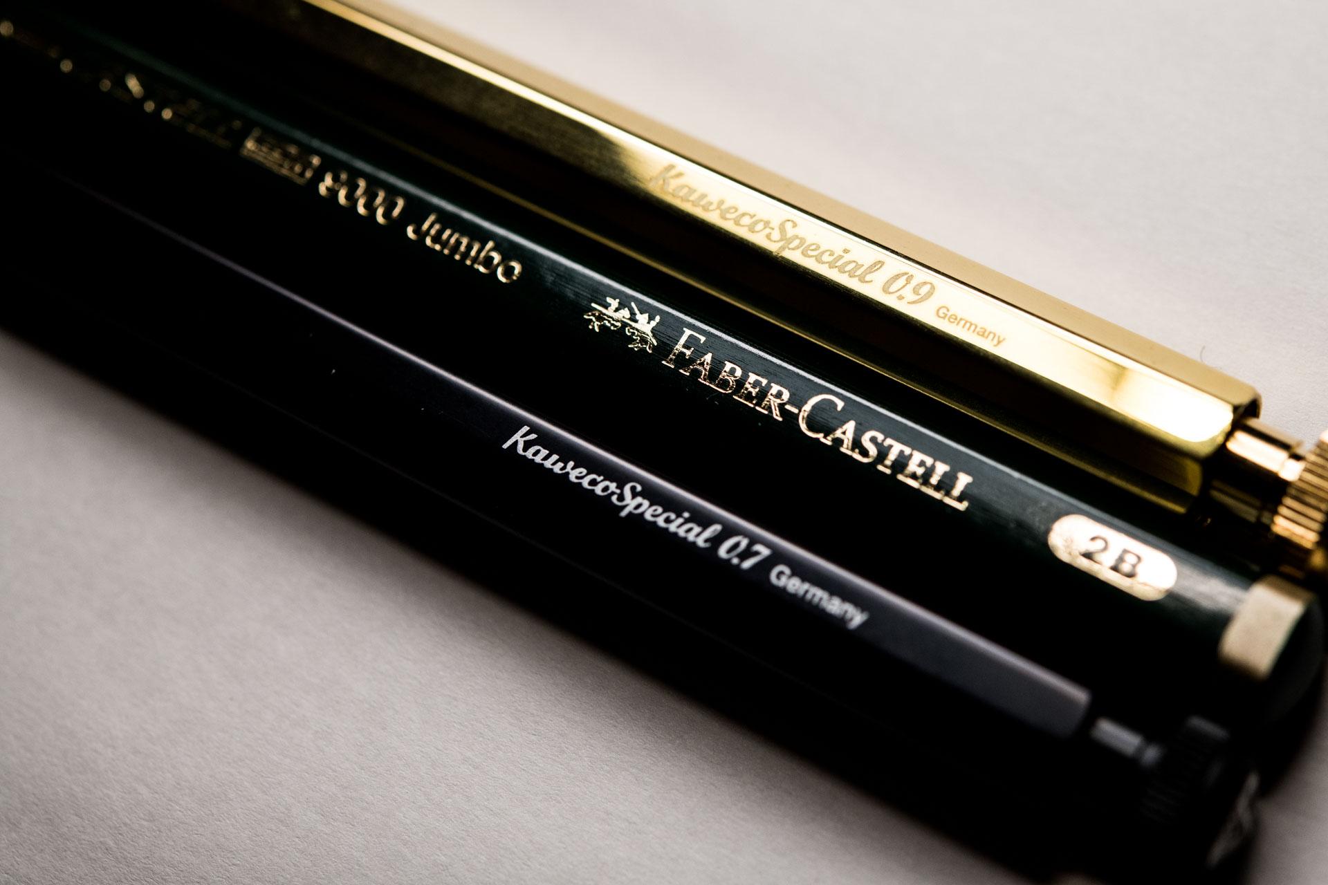 カヴェコブラス0.9とアルミ0.7とファーバーカステルのジャンボ鉛筆との比較